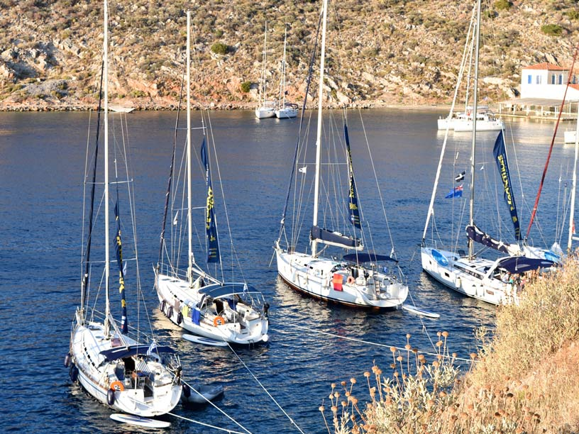 Parked sailing boats