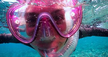 Close up of snorkeler