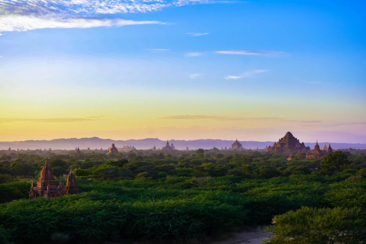 Sunset over trees in Bagan