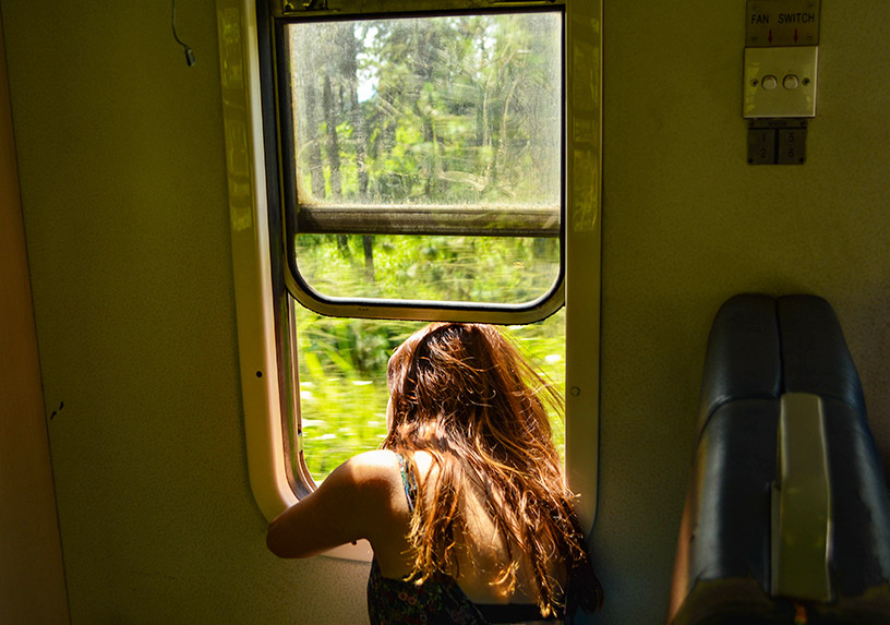 looking out train window